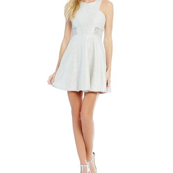 Dear Moon High Neck Jeweled Sides Skater Dress | Dillards