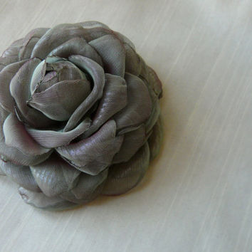 Gray Hair Clip, Grey Hair Flower, Grey Flower Brooch, Grayish Purple Elegant Fabric Flower, Reception Chameleon Flower