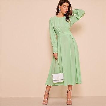 Frilled Cuff Pleated Panel Fit And Flare Maxi Dress Women Elegant Solid High Waist A Line Long Dress Party Dress