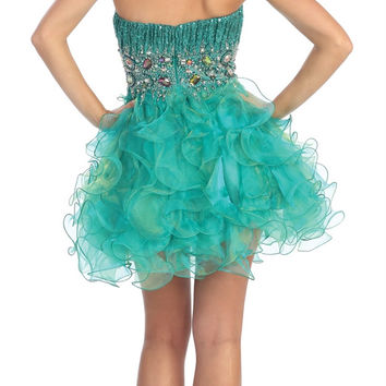 Strapless Sweetheart Organza Short Dress with Ruffle Skirt and Jeweled Bodice GS1025