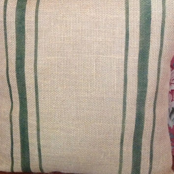 Burlap Grain Sack Pillow/ Rustic Pillow with Woodland Green Stripes Natural Burlap Pillow Cover by sweet janes plan