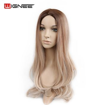 Wingee Ombre Color Synthetic Wig Brown Root To Ash Blonde High Temperature Body Wave Cosplay Hair Wigs For Black/White Women
