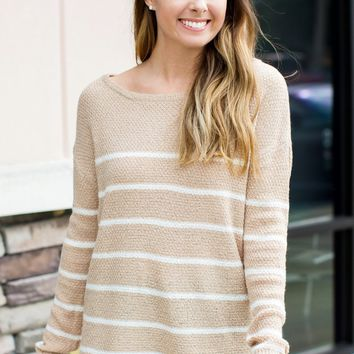 Time Will Tell Striped Sweater - Oatmeal