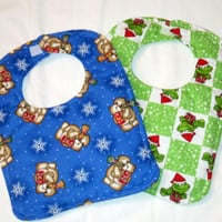 Holiday2 Baby Bibs for Boys or Girls, Christmas, Winter Handmade By Sewinggranny