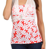 Floral Print Halter Mesh Overlay Jewel Top - Coral