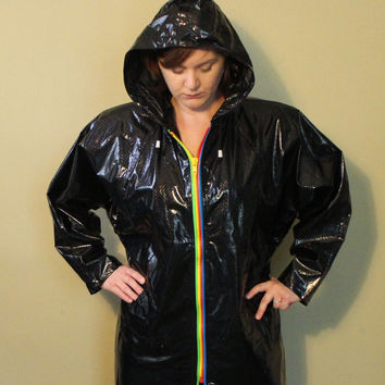 Vintage Black Raincoat - Rain Jacket - Vinyl Jacket - 80s Mod - Rave - 80s Raincoat - Black Jacket - Rainbow - Slippery When Wet - Size M