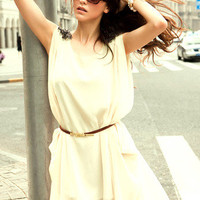Chic Women Beige Casual Loose Sleeveless Fully Lined Chiffon Sundress Mini Dress