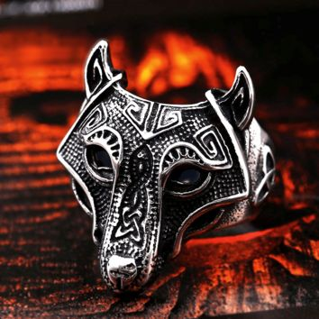 Viking Wolf Stainless Steel Ring