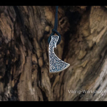 Perun Axe Necklace Slavic Amulet Sterling Silver Pendant Pagan Jewelry (Reconstruction)