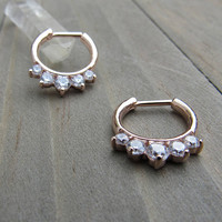 Rose gold septum piercing clicker five CZ gemstones daith earring easy click in cartilage piercing body jewelry rings helix hoops studs one
