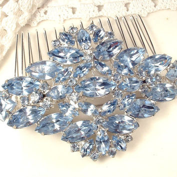 Brooch OR HaiR CoMB Dusty Light Blue Rhinestone Bridal Comb, TRUE Vintage 1950s Heirloom Oval Bridal Brooch or OOAK Haircomb, Something Blue