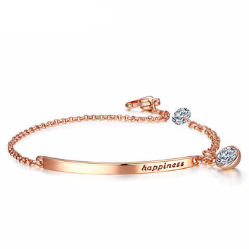 "Elegant Rose Gold ""Happiness"" Bracelet"