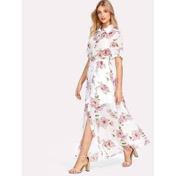 Multicolor Short Sleeve Floral Print Maxi Dress