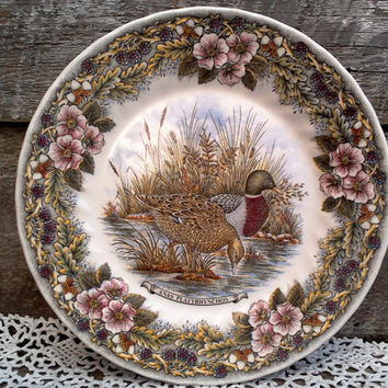 "Mallard Duck Plate, Churchill Wildlife Scene, Anas Platyrhynchos, England, 9 7/8"" Dinner Plate, Wall Decor, Farmhouse, Hunting, Cabin Decor"