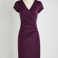 Long Short Sleeves Sheath I Think I Can Dress in Plum