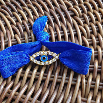 Gold Rhinestone Evil Eye Elastic Hair Ties (and Bracelets)