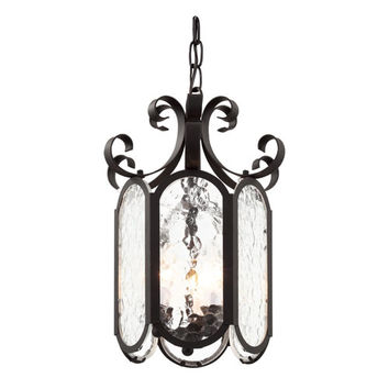 Trans Globe Lighting 40190 BK Black New Century Iced Glass 10-Inch Foyer Pendant with Clear Water Glass