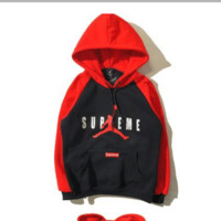 """Air Jordan X Supreme"" Fashion Casual Unisex Multicolor Loose Letter Pattern Print  Round Neck Long Sleeve Couple T-shirt Hooded Plus Cashmere Sweater"