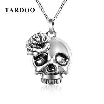 Sterling Silver Suspension Necklaces Steampunk Skull Skeleton Pendants Necklace Fine Jewelry
