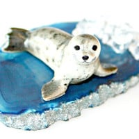 Arctic Seal on Agate Slice Sculpture - Porcelain Grey Seal Miniature Figurine on Arctic Blue Agate Slice Home Decor Collectible by Mei Faith