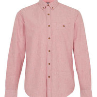 Red Brushed Long Sleeve Oxford Shirt - Men's Shirts - Clothing