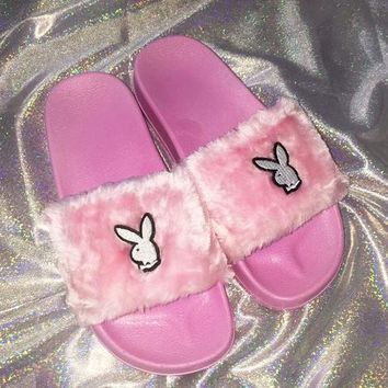 Play Boy Cute Rabbit Pink Slipper Fur Flat Slipper Women Slipper Shoes
