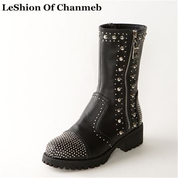 Rock Studded Punk Boots Rivet Winter Shoes Women Street Boots Woman Motorcycle Riding Boots Female Real Leather Mid-calf Boots