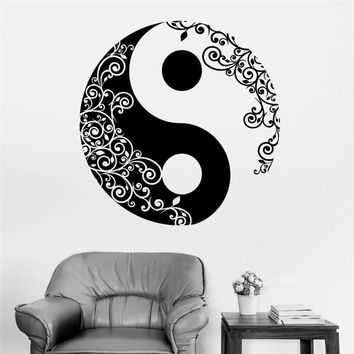 T06073Eco-friendly Home Decor Wall Sticker for Living Room Vinyl Wall Sticker Buddha Yin Yang Floral Yoga Meditation Vinyl Decal
