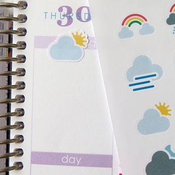 48 Assorted Weather Stickers for Erin Condren Planner, Filofax, Plum Paper