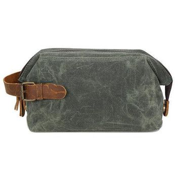 Canvas First Layer Leather Clutch Bag Vintage Travel Wash Cosmetic Bag For Men Women