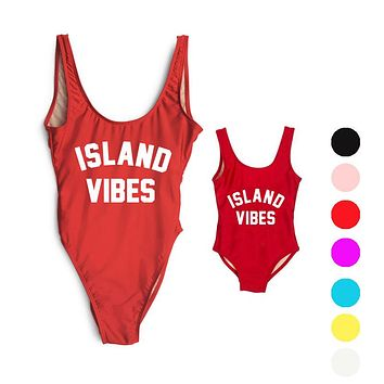 ISLAND VIBES Letter Women Swimsuit 2017 Sexy Low Back High Cut Swimwear Kids Bathing Beachwear Girls One Piece Black Bodysuit