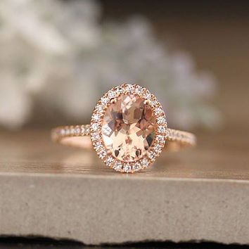 Oval Morganite Engagement Ring, Diamond Halo Ring, Diamond Half Eternity Band, 10x8mm Morganite Oval Ring, 14k Rose Gold Diamond Ring