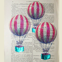3 Air balloons- ORIGINAL ARTWORK Mixed Media,  Hand Painted  on 1920 Parisien Magazine 'La Petit Illustration' by Coco De Paris