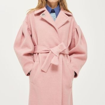 Mutton Sleeve Belted Coat | Topshop