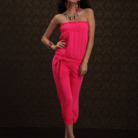 Pink Strapless Jumpsuit with Shirring Top