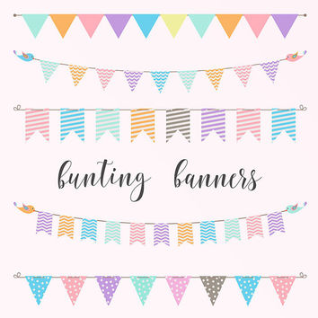 Pastel Bunting Banners Clipart | Party Banner | Birthday Clip Art | Pastel Flags | Buy More Save More: BUY5FOR8