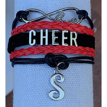 Custom Cheer Initial Bracelet- Pick Team Colors & Initial