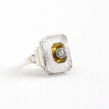 Vintage Art Deco Sterling Silver Camphor Glass Ring - Size 3 3/4 Yellow Glass & White Rhinestone 1930s Frosted Glass Statement Jewelry