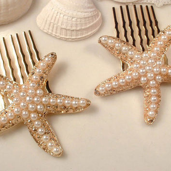 Ivory Pearl Gold StarFish Hair Combs, PAIR Heirloom Gold Plated Bridal Jeweled Star Fish Shell Haircombs Set of 2 Bridesmaids Gifts Beach