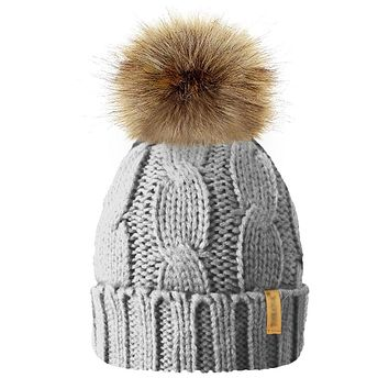 235a7d0b809 Winter Hat For Girls Knit Beanie Baby Hat For Children Fur Pom P
