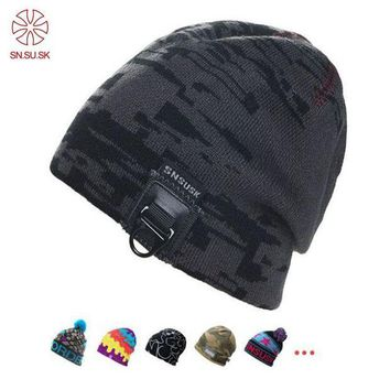 ac NOOW2 Fashion Winter Wool Knitted Hats Stripes Basketball Gorros Extreme Sports Beanies Hip-Hop Skullies For Men hiking cap