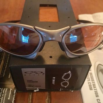 OAKLEY PENNY X METAL SUNGLASSES LOW SERIAL # PV015988 TITANIUM WITH VR28 LENSES