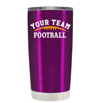 TREK Custom Football Team on Raspberry 20 oz Tumbler Cup