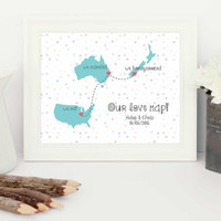 honeymoon map, newlyweds gift, Wedding gift, wedding present, gift for the bride, gift for groom,  anniversary gift, gift for wife, love map
