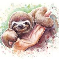 """Baby Sloth Watercolor Art"" - Art Print by Olga Shvartsur"