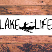 Lake Life Decal | Fishing Decal | Boating Decal | On The Lake Decal | Preppy Decal | Cute Car Vinyl Decal | Southern Vinyl Car Decal  | 291