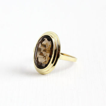 Vintage 14k 585 Yellow Gold Large Smoky Quartz Brown Gemstone Ring - Size 9 Open Metal Work Filigree 1960s Retro Statement Fine Jewelry