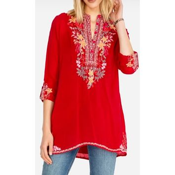 Johnny Was Liliana Tunic~ Wild Cherry