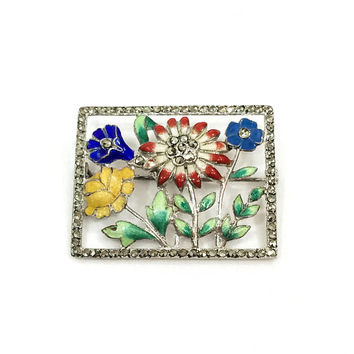 Enamel & Sterling Flower Brooch, Art Deco Marcasite Pin, Guilloche Enamel, Red Yellow Blue Green, Open Work, 1930s Vintage Jewelry