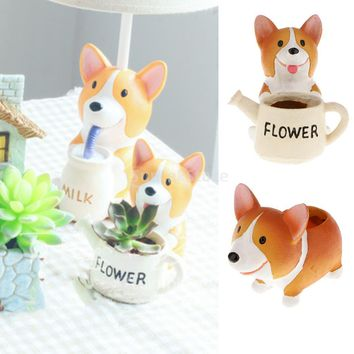 Cute Mini Welsh Corgi Dog Planter Plant Flower Resin Pot Garden Home Decor